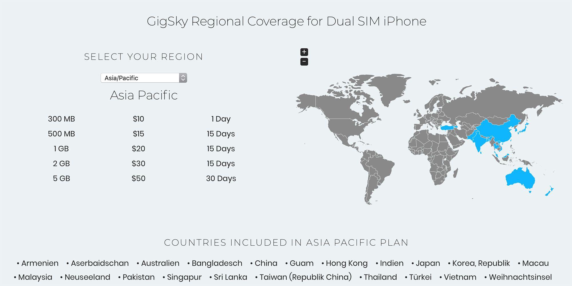 Netzabdeckung GigSky Asien