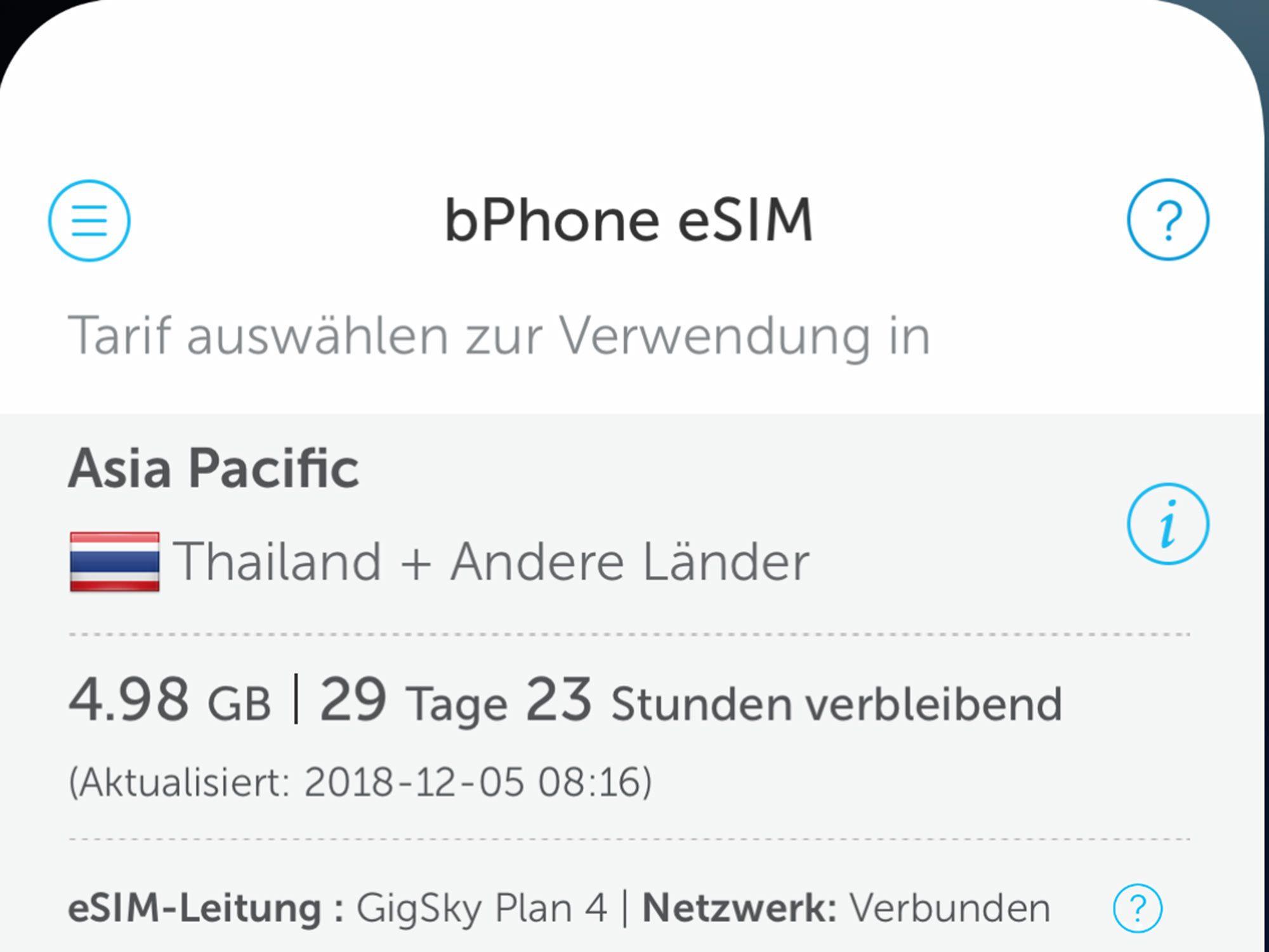 GigSky Data plan Asia