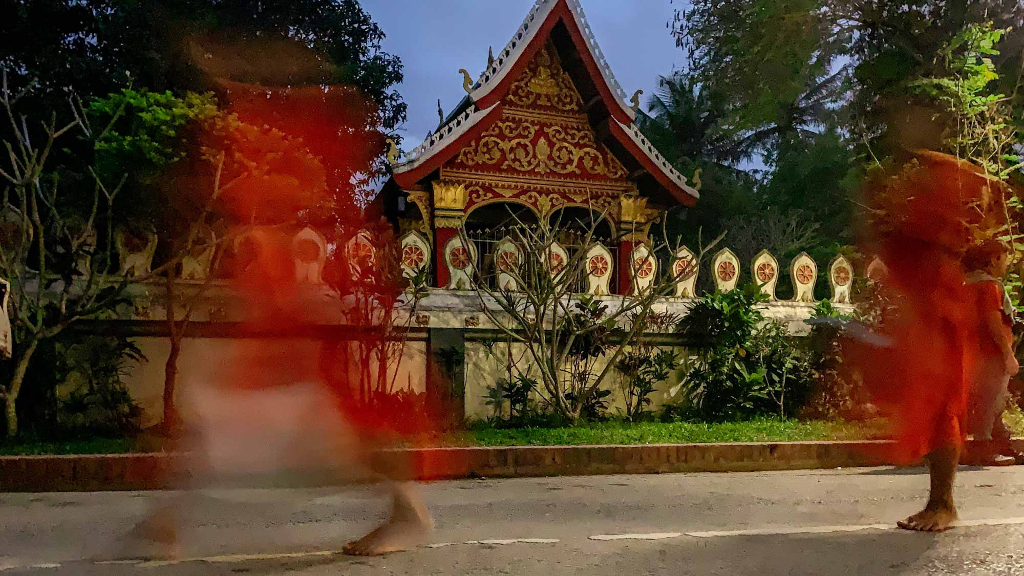 monk parade in luang prabang