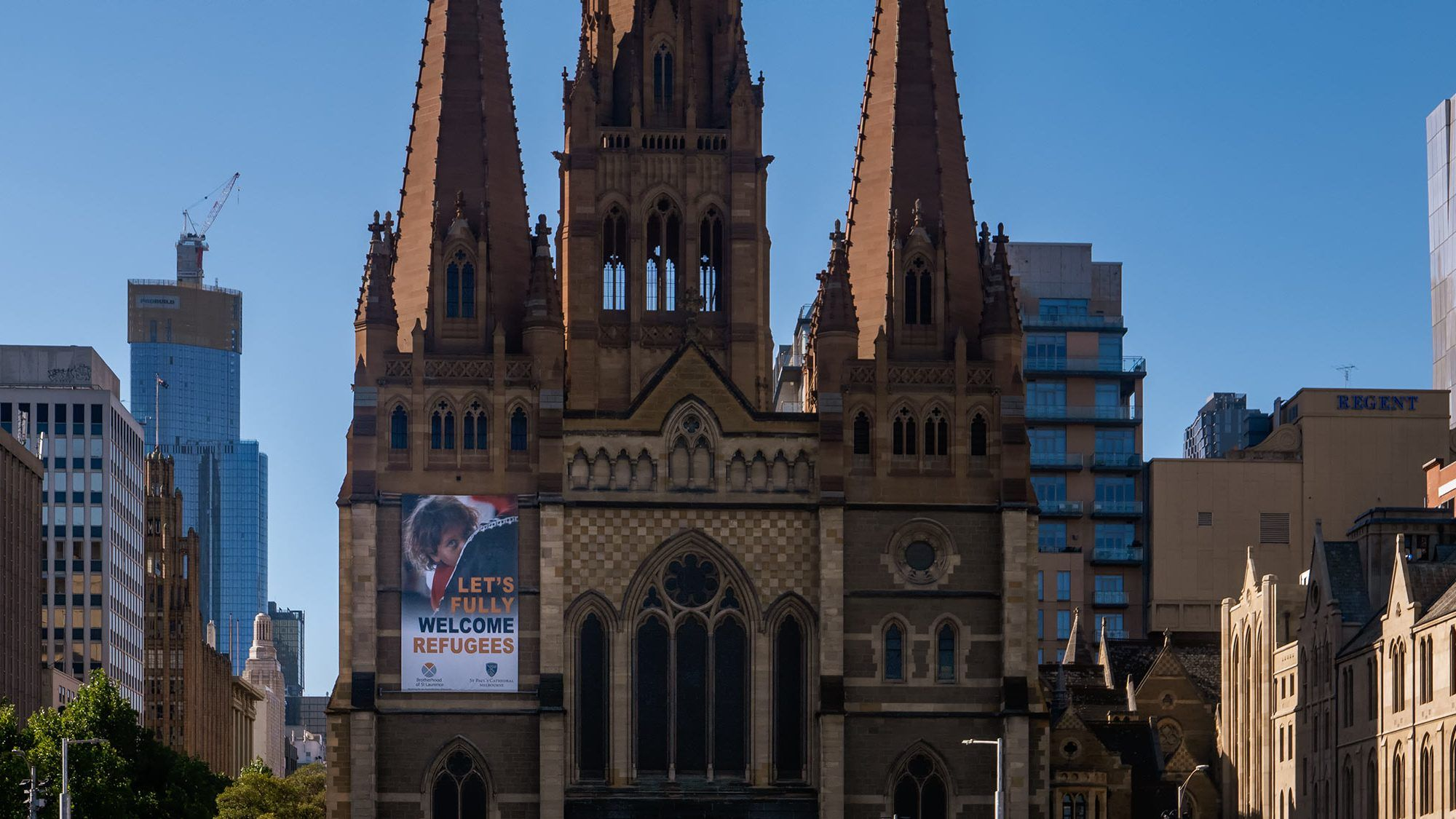 refugees welcome display on church
