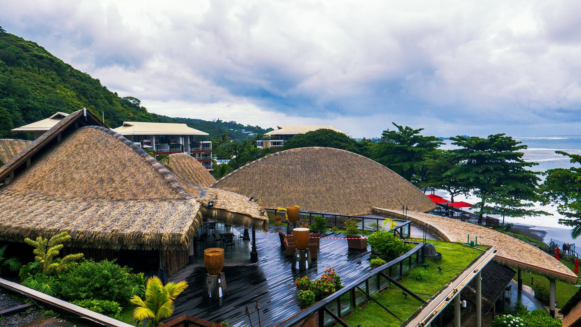 Black Pearl Resort Tahiti on a cloudy day