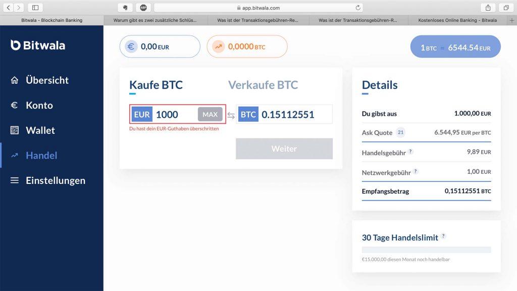 Bitwala bitcoin Exchange