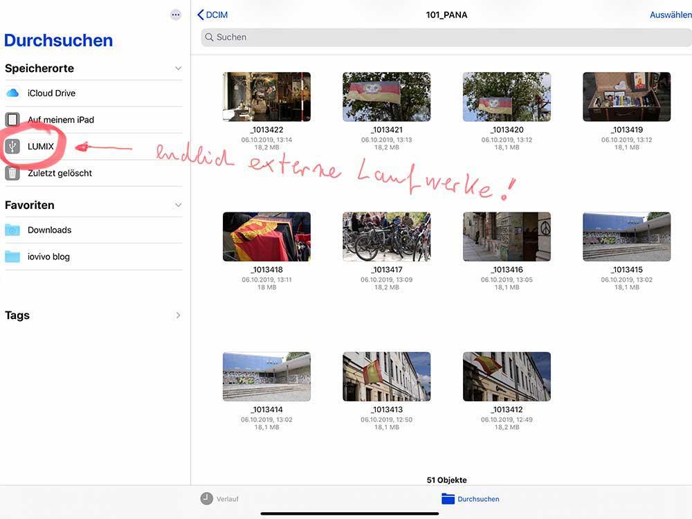 externe daten auf dem iPad