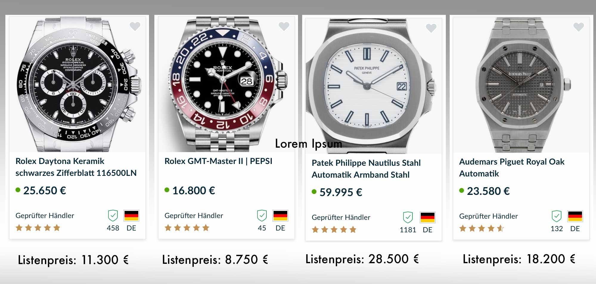 Preisvergleich einiger edler Uhren