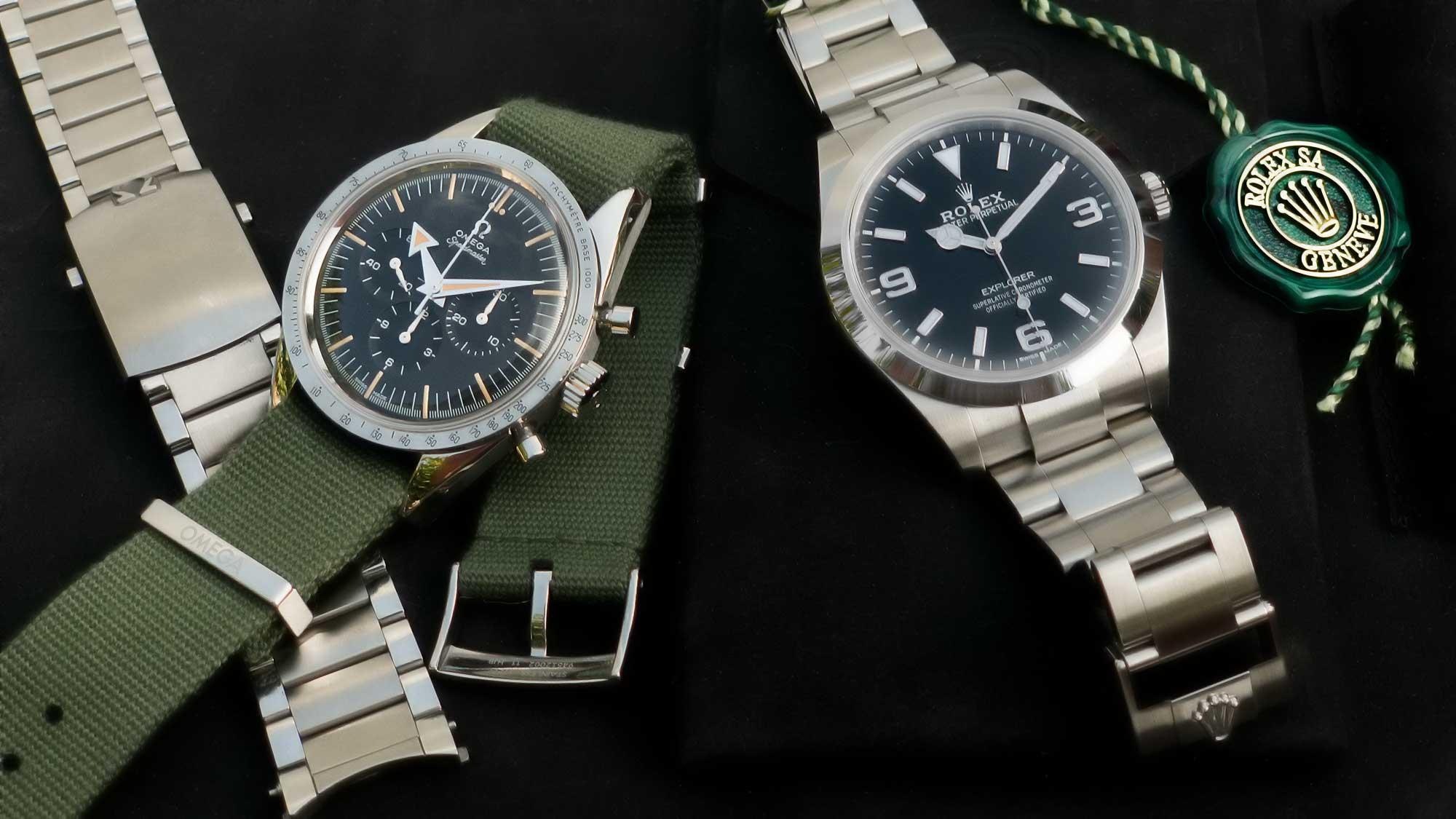 Rolex und Omega Uhr