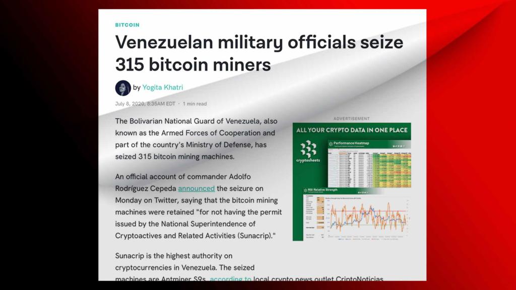 Venezuelas konfisziert Bitcoin